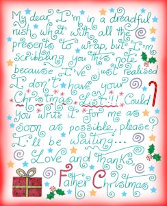 A note from Santa asking your child to write his or her Christmas List
