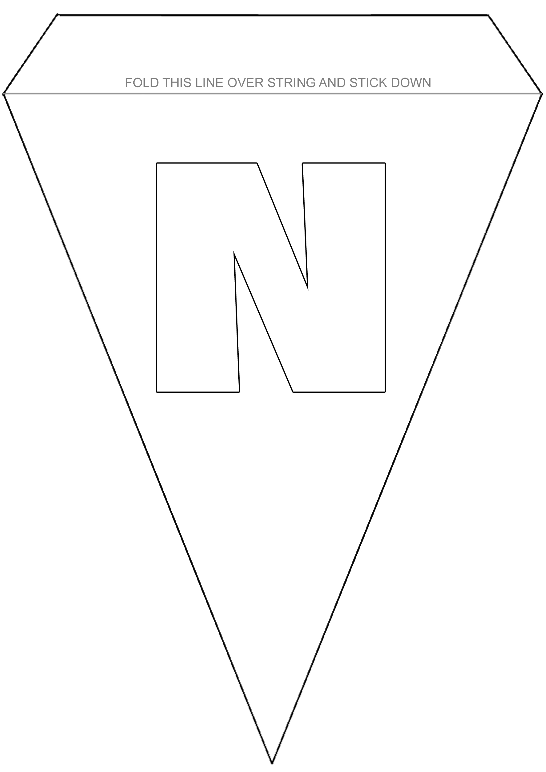 Colouring Bunting - Letter N