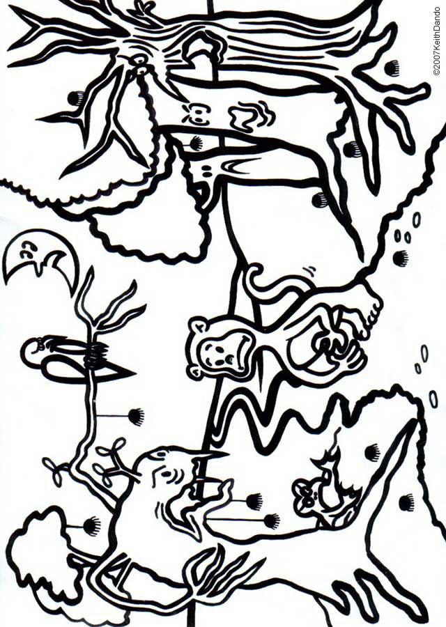 Free printable colouring page of a haunted forest