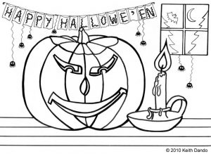 Free printable colouring page of a Halloween pumpkin