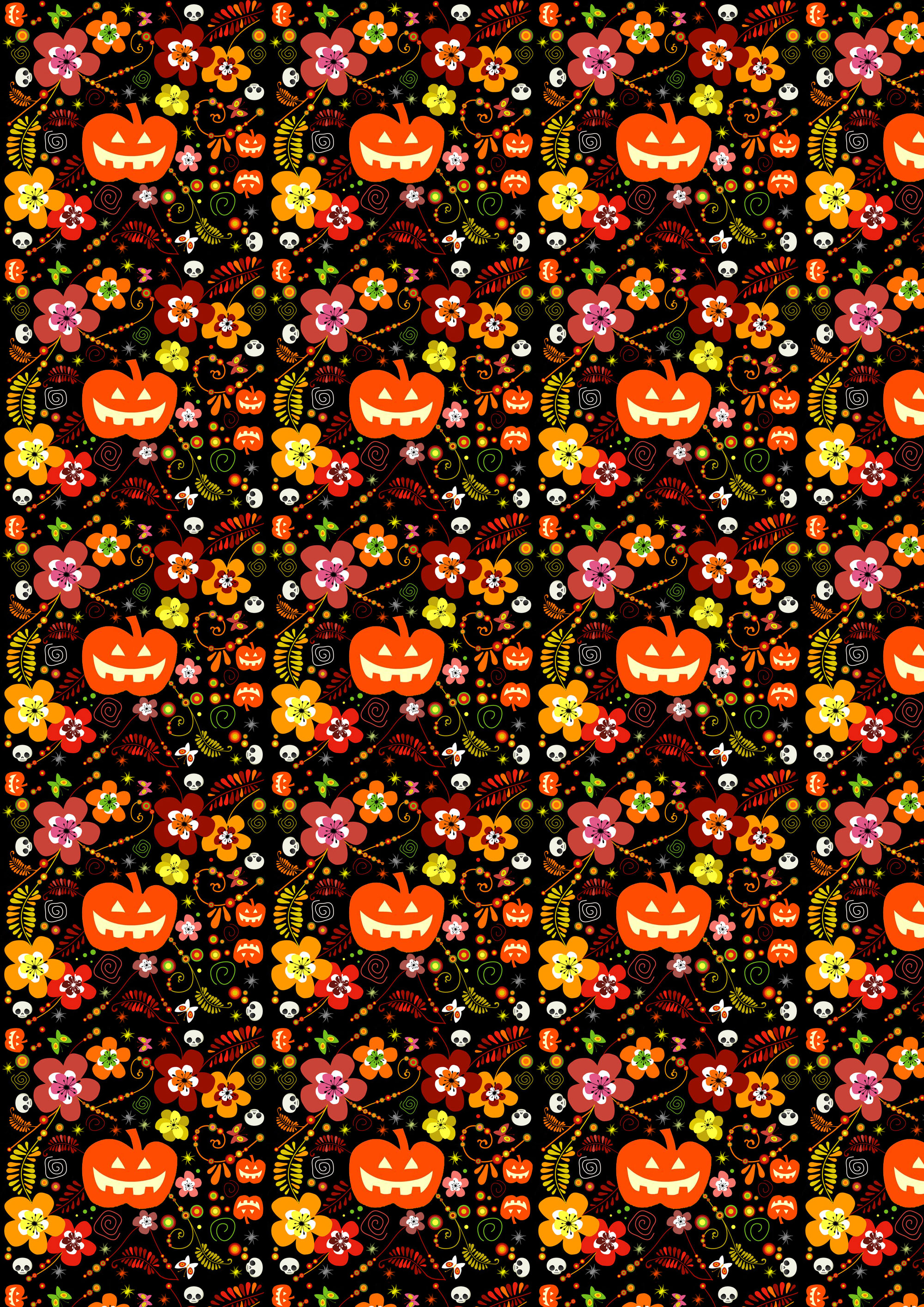 free scrapbook paper  halloween pumpkins and flowers