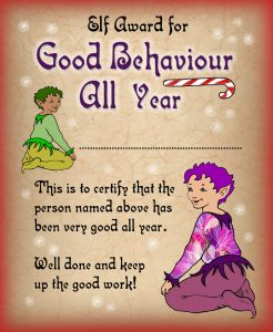 Free printable certificate from the elves saying well done for being good all year