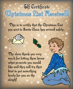 Free printable certificate from the elves saying a Christmas list has been received