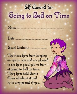 Free printable certificate from the elves saying well done for going to bed on time