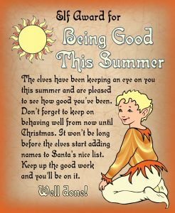 Free printable certificate from the elves saying well done for being good over the summer