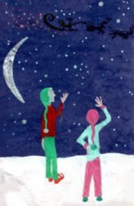 elves-waving-at-santas-sleigh