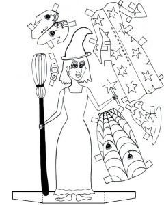 Cut out and colour in this witchy paper doll!