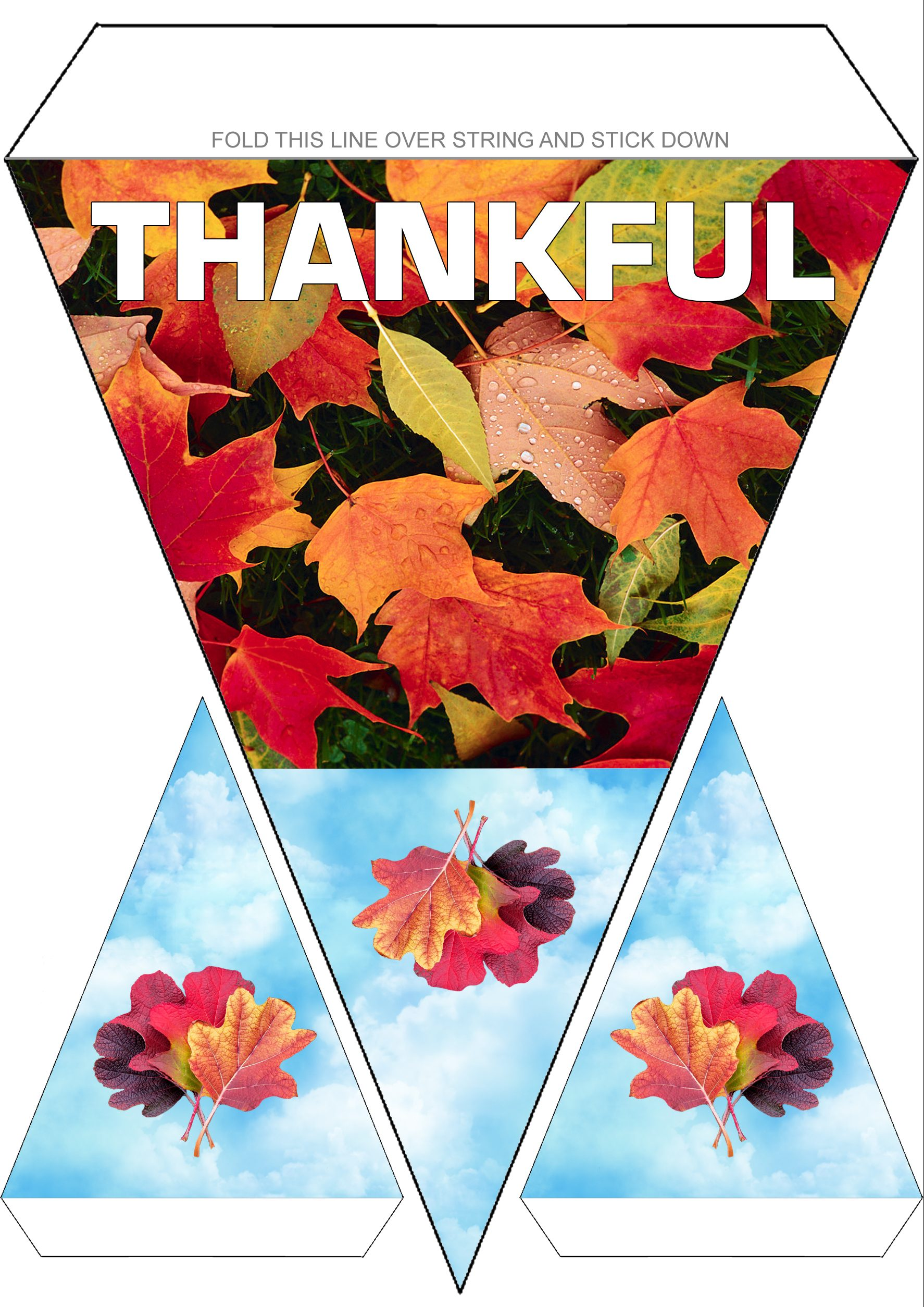 "Printable Thanksgiving decoration reading ""Thankful"""
