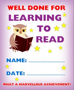 Free printable kids' certificate - well done for learning to read