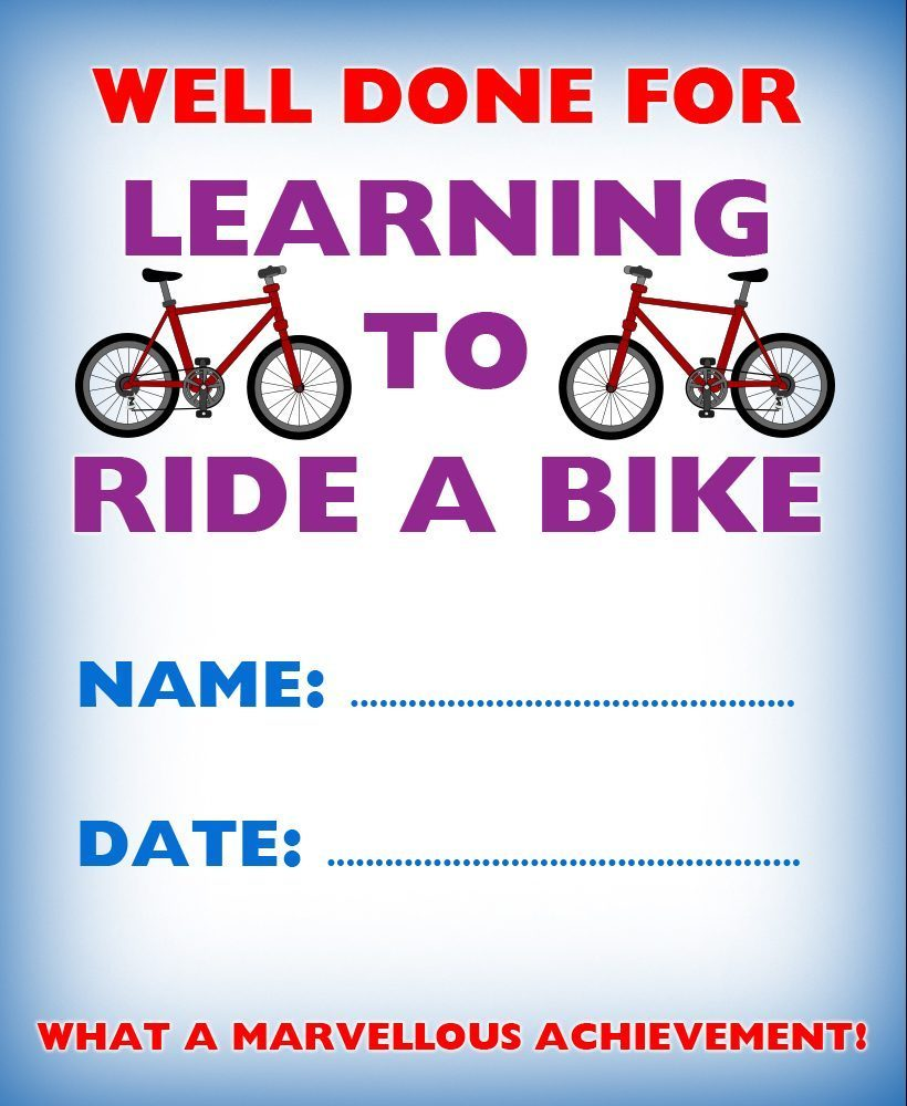 Kids' certificate to say well done for learning to ride a bike