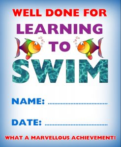Kids certificate for learning to swim