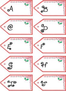 Get PDF of Father Christmas letter name tags A-J