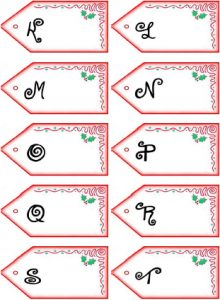 Get PDF of Father Christmas letter name tags K-T