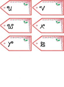 Get PDF of Father Christmas letter name tags U-Z