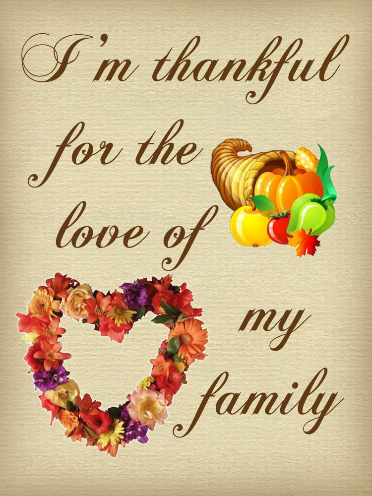 Thanksgiving Note Thankful For The Love Of My Family