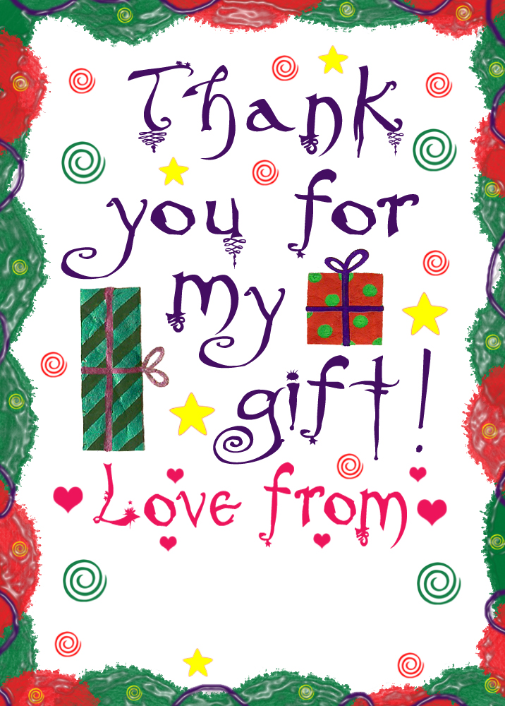 Printable thank you note - thanks for my gift