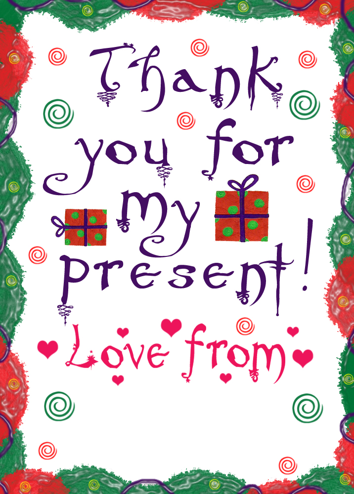 Printable thank you note - thanks for my present