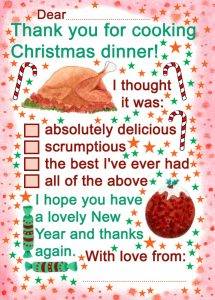 Printable Thank You Note - Thank You for Cooking Christmas Dinner