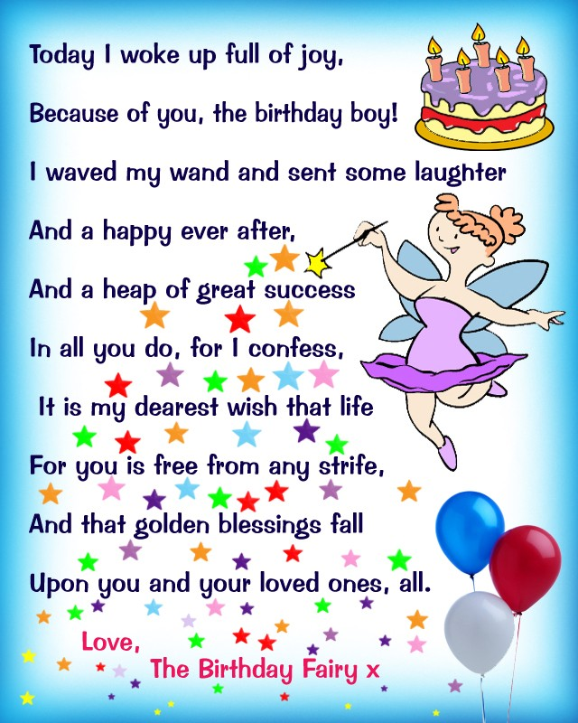 Birthday Fairy Poem Message For A Boy Rooftop Post Printables