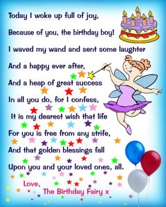 Birthday Fairy Poem: Message for a Boy