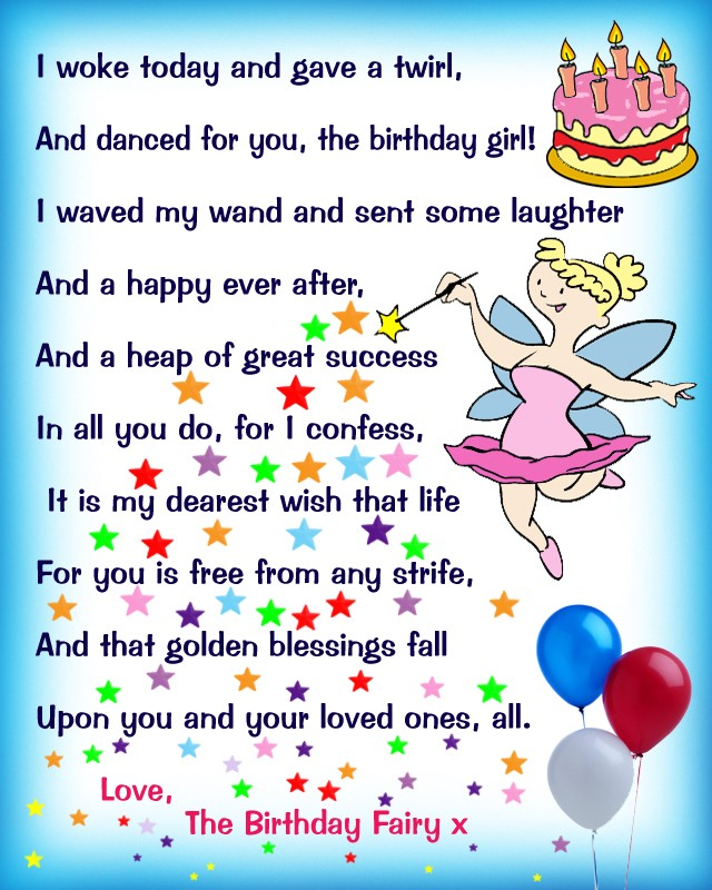 One Year Old Birthday Quotes: Birthday Fairy Poem: Message For A Girl
