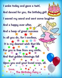 Birthday Fairy Poem: Message for a Girl