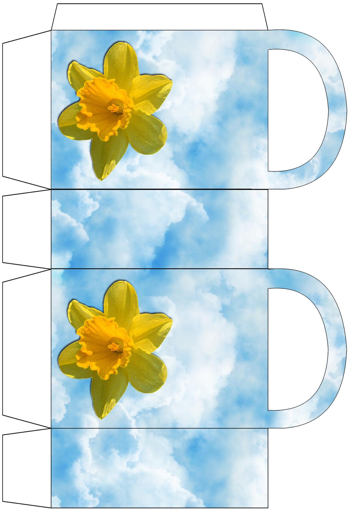 Printable daffodil-themed gift bag