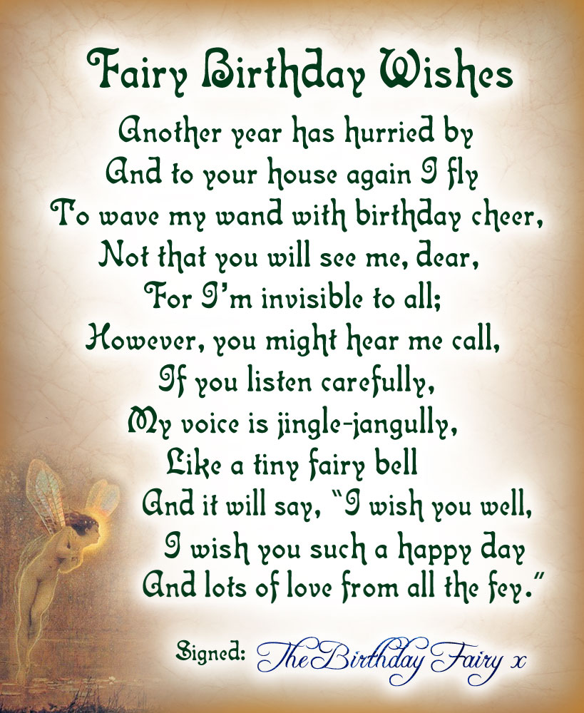 Fairy Birthday Wishes - A Printable Poem from the Birthday Fairy