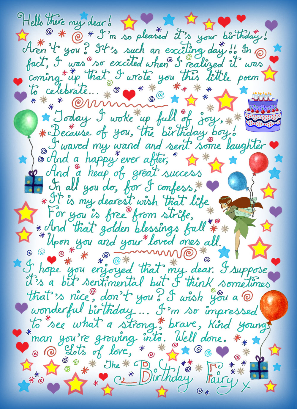 note from the birthday fairy with a poem  boy