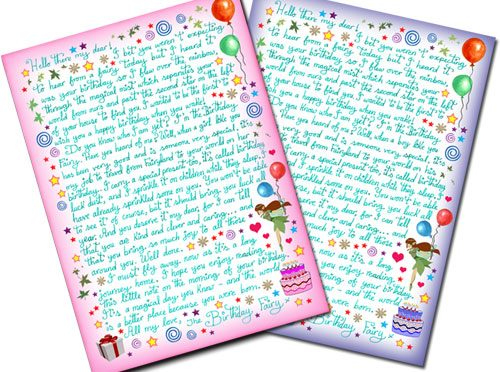 Printable Birthday Fairy Letters