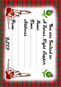 Printable invitation to a Burns Night Supper