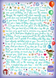 Letter from the Birthday Fairy (for a boy)