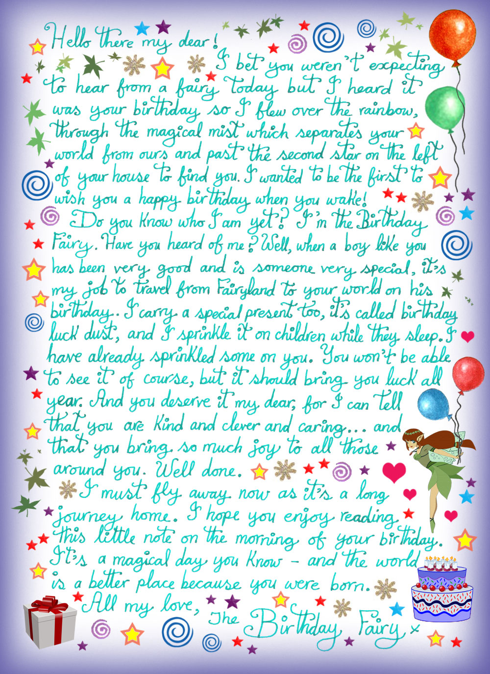 Birthday Fairy Letter for a Boy | Rooftop Post Printables