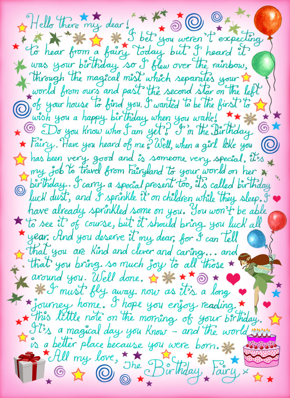 letter from the birthday fairy for a girl