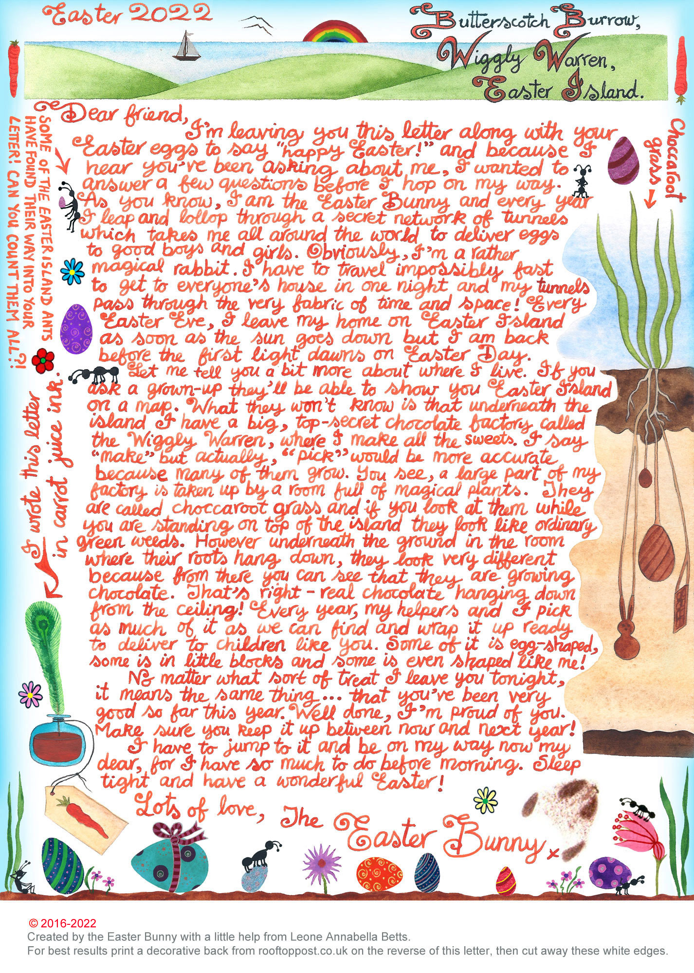 Easter Bunny Letter: My Secret Chocolate Factory by Leone Annabella Betts