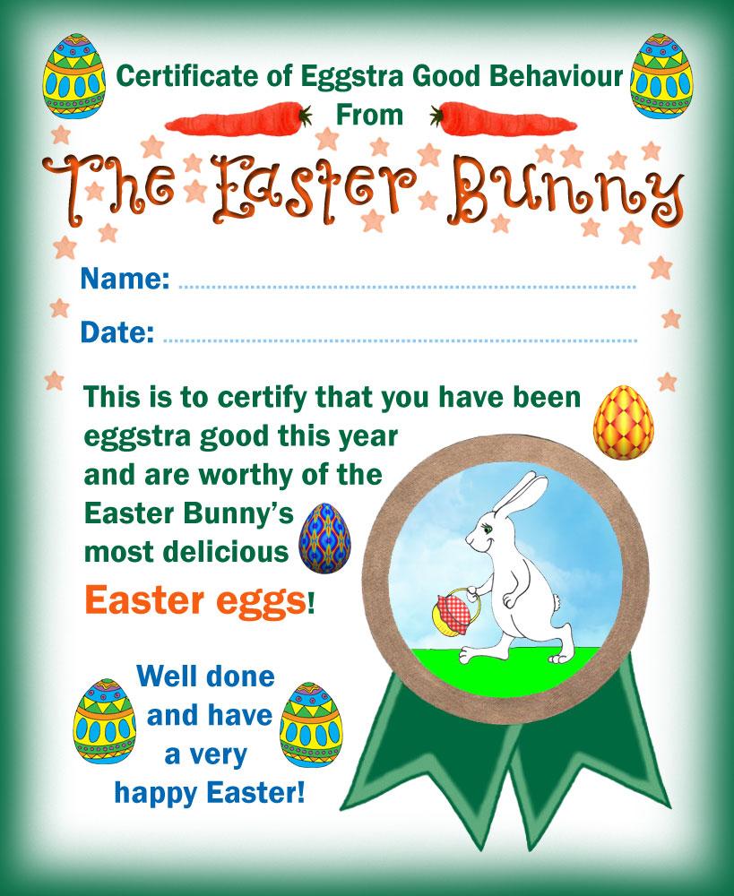 Easter Bunny Certificate of Eggstra Good Behaviour