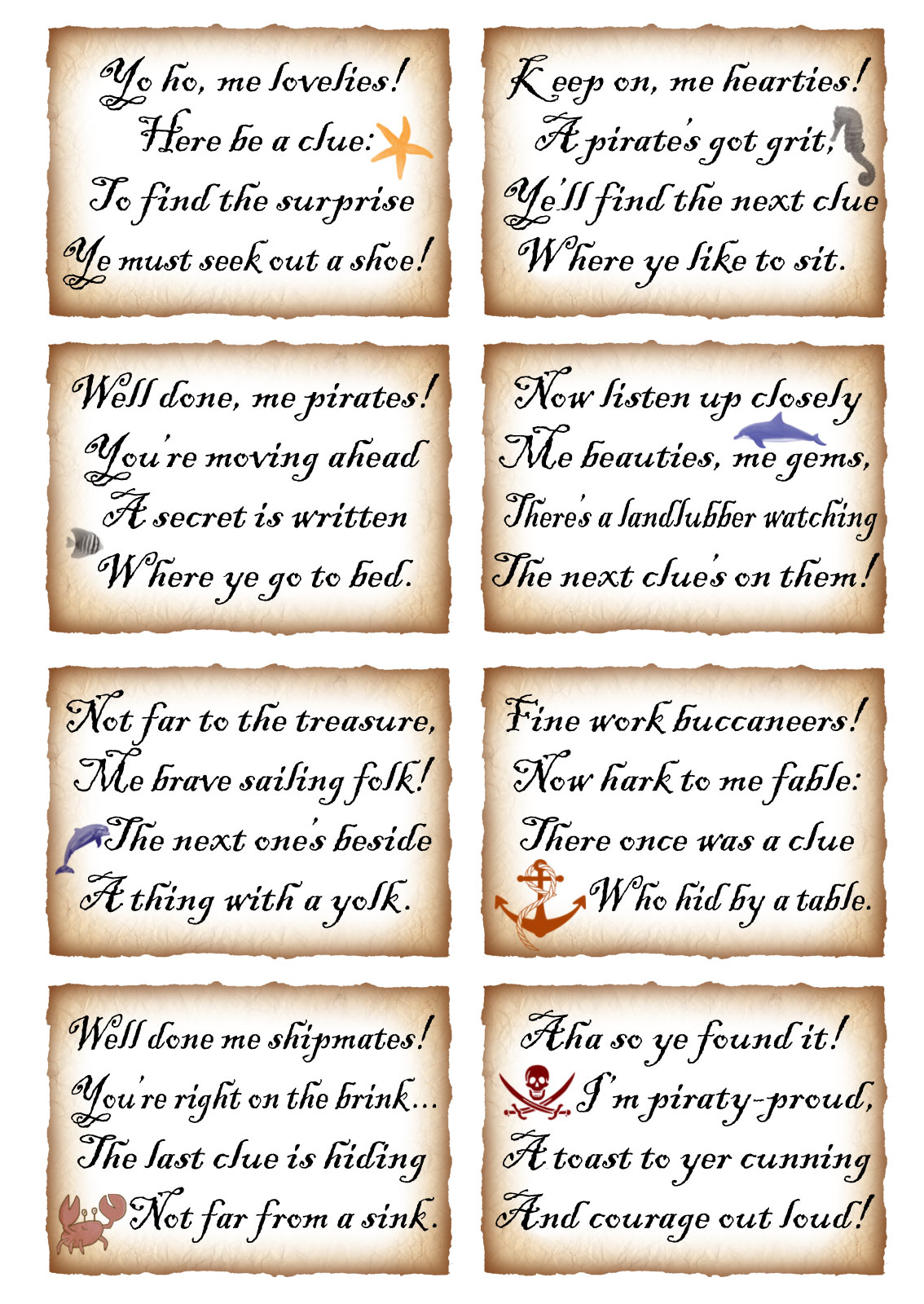 Printable Pirate Treasure Hunt