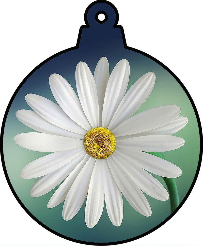 A printable bauble decoration of a daisy.