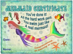 Learning to Swim - free mermaid certificate