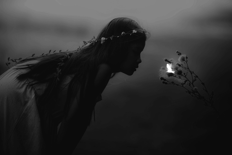 Little girl looking at a fairy