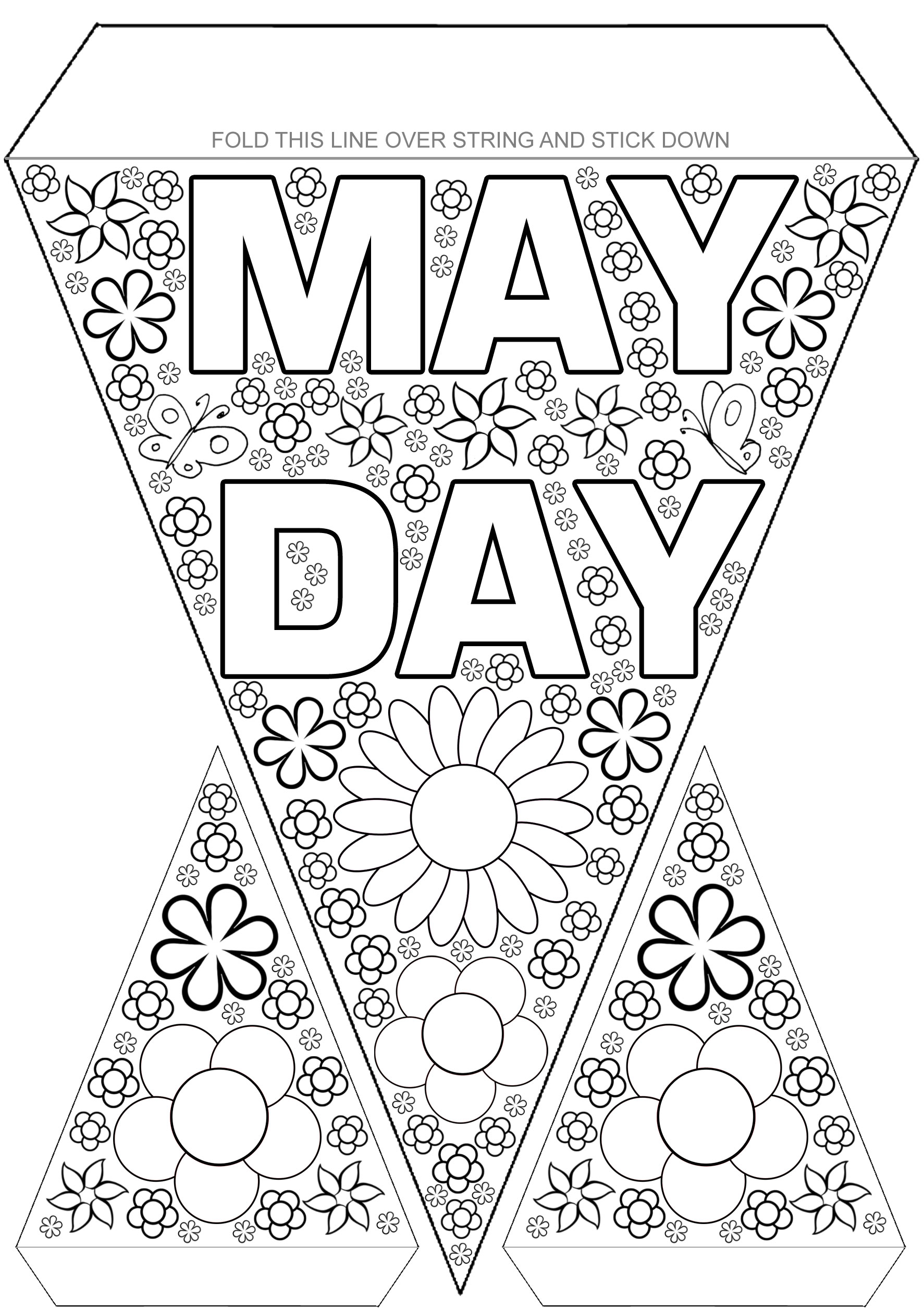 May Day Bunting to Colour Rooftop Post Printables