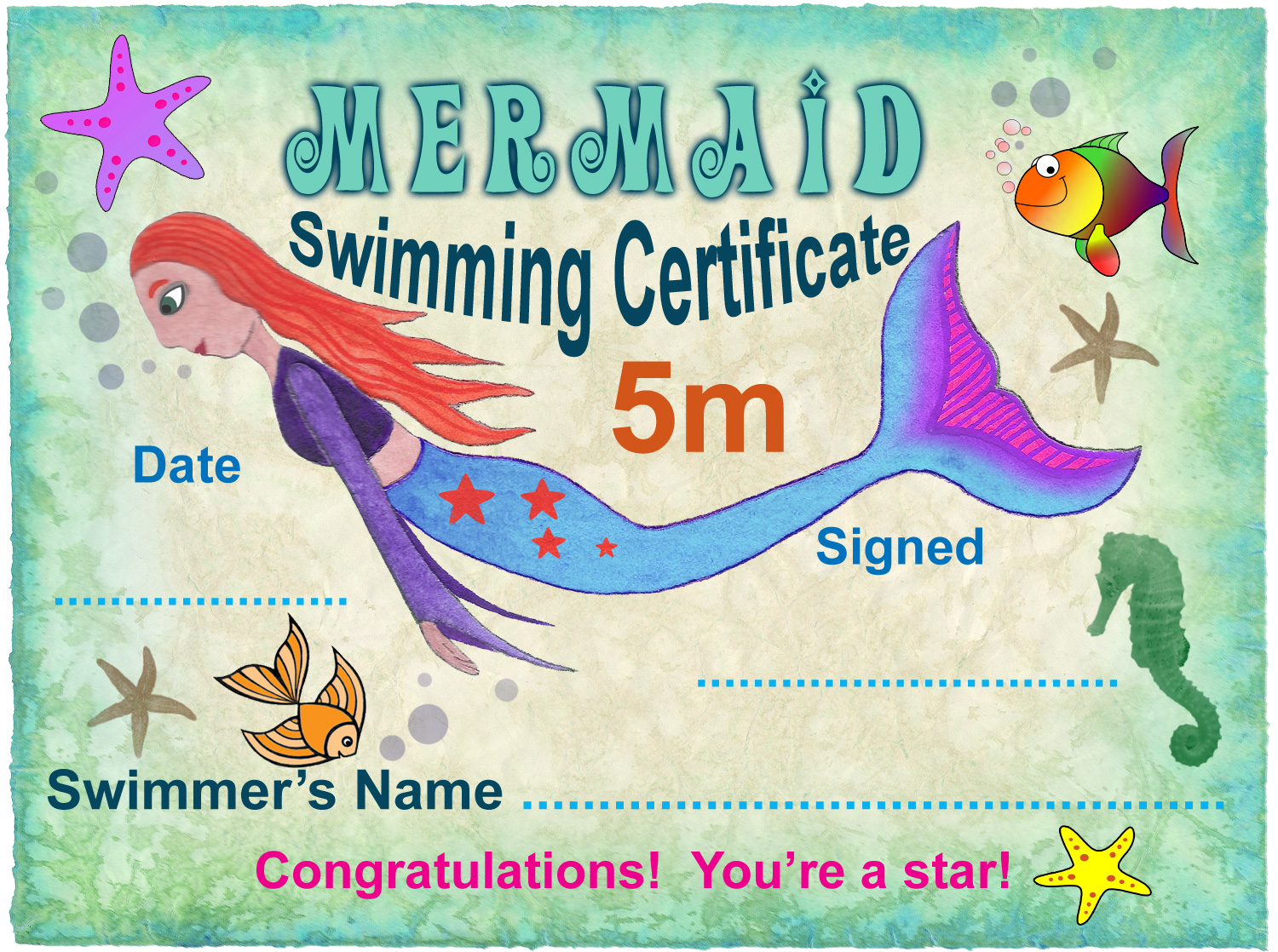 5m Mermaid Swimming Certificate | Rooftop Post Printables