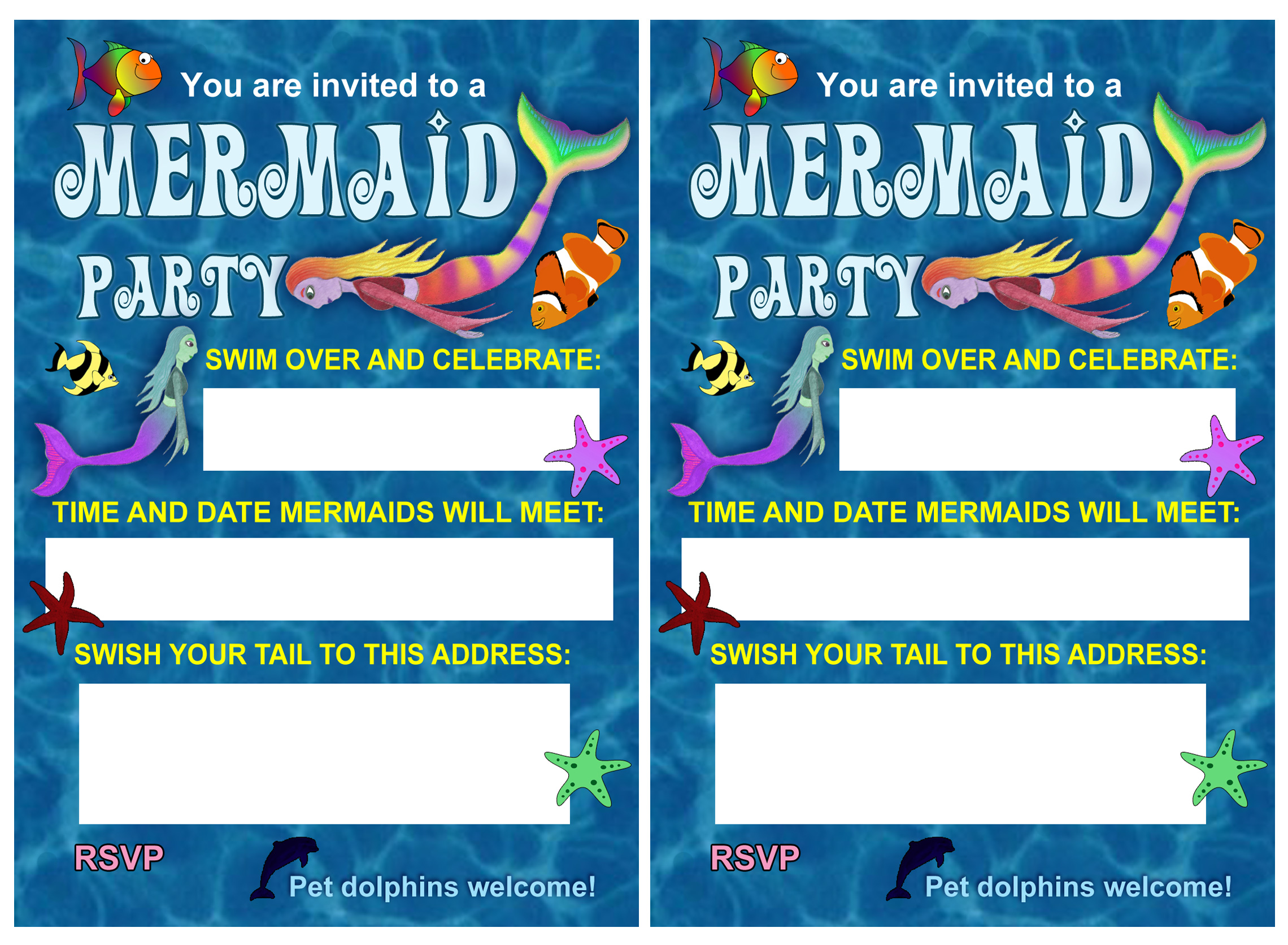 Blue Sea Mermaid Party Invitation
