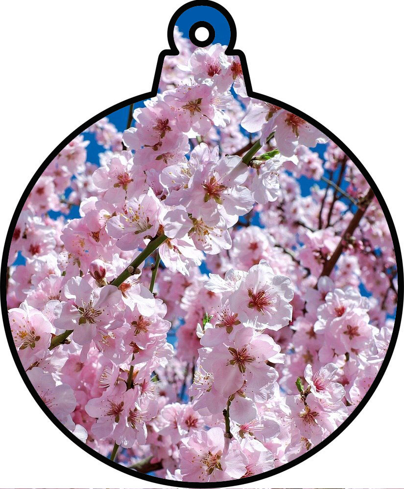 Printable bauble decoration showing pink blossom