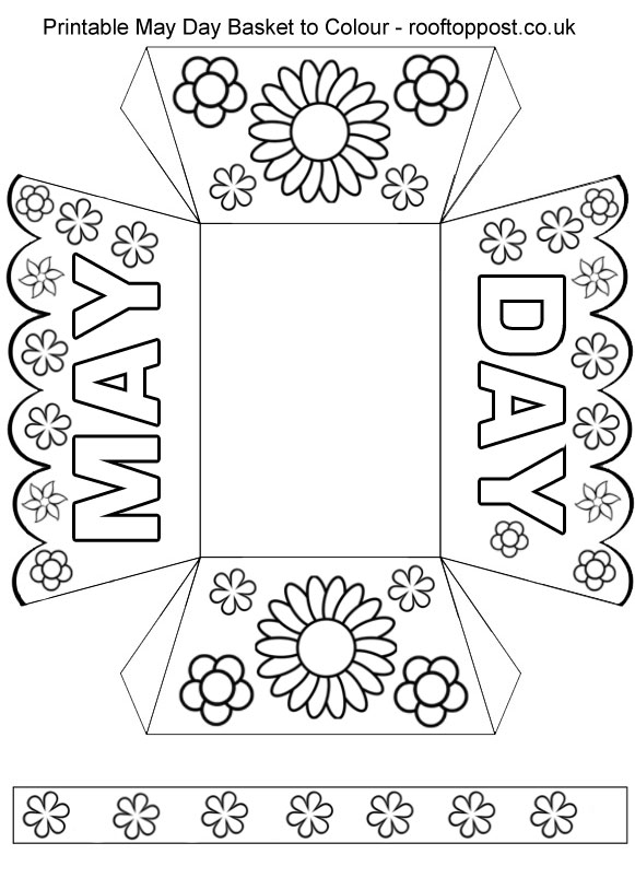 printable may day basket to colour