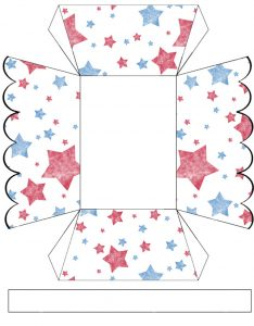 Free printable treat basket decorated with American red and blue stars
