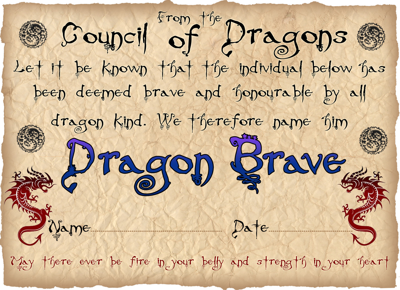 dragon bravery certificate  boy