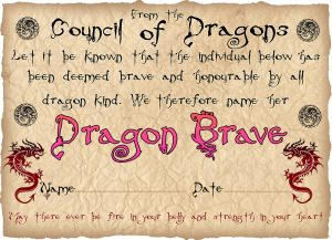 Free printable Bravery Certificate from the Council of Dragons - for a girl