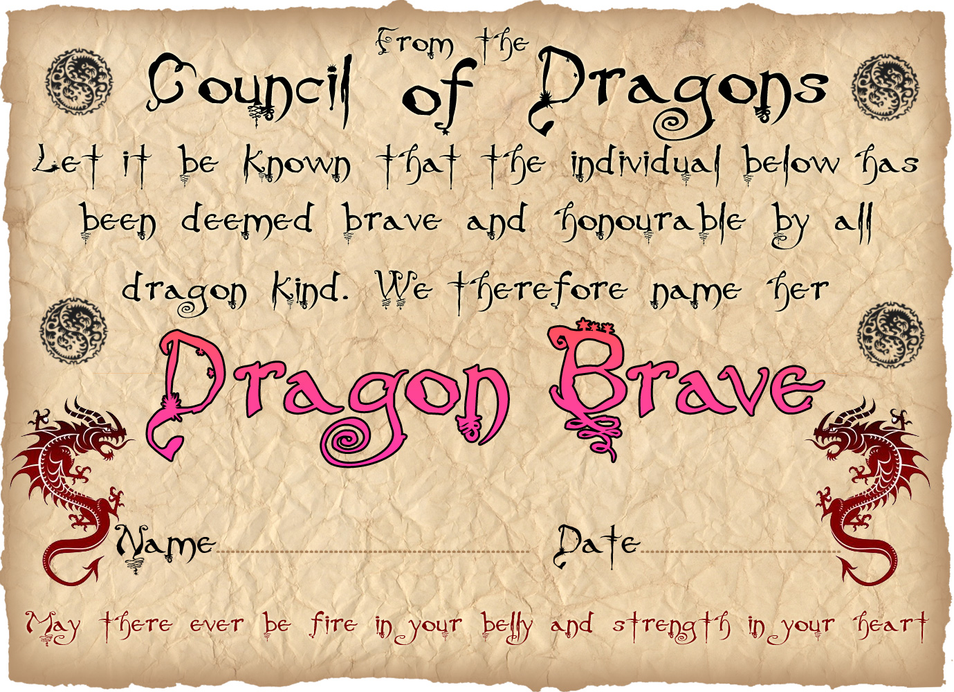 Dragon bravery certificate girl rooftop post printables for Bravery certificate template