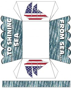From Sea to Shining Sea printable paper basket for American celebrations